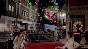 A still from the restored ending in the Director's Cut where Audrey IIs invade and eat New York!!!!