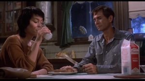 "Meg Tilly with Anthony Perkins as she questions how ""cured"" is Norman"