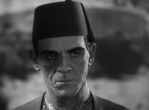 Karloff as the priest Imhotep. Notice how hypnotic his presence is as well as the bandaged marked face