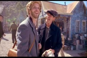 Chris Elliot is the innocent Nathaniel as he talks to one of the locals played by David Letterman. Chris and David used to work on the Late Night show together