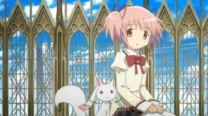 Madoka is tempted by a strange creature named Kyubey to make a wish in exchange to be a magical girl. Can you say Devil's Advocate?