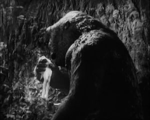 "One of the many ""offending"" scenes where Kong tears off bits of Ann's dress and tickles her. Trust me, its not as bad as you think its. Eventually this and many others would be restored to the film later on"