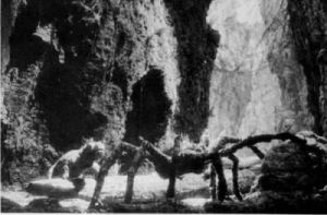 "A still from the iconic lost ""Spider Pit Sequence"""