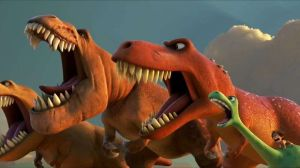 Sam Elliot leads a T. Rex pack in one of the few interesting ideas of this movie