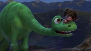 A dinosaur and his....boy dog...